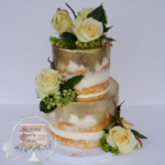 semi naked cake white flowers_