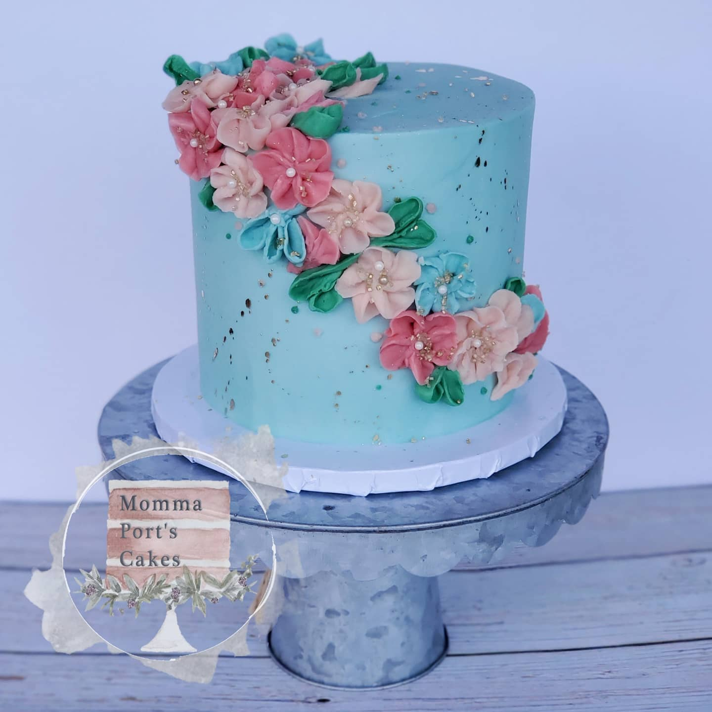 floral birthday cake blue pink gold